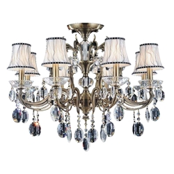 "30"" Ottone Traditional Candle Round Flush Mount Crystal Chandelier Antique Brass Finish 8 Lights without Lampshades"