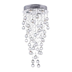 "30"" Raindrops Modern Foyer Crystal Round Chandelier Mirror Stainless Steel Base 4 Lights"