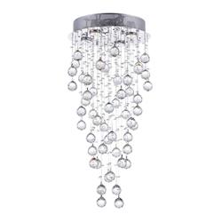 "30"" Raindrops Modern Foyer Crystal Round Chandelier Mirror Stainless Steel Base 4 Lights"