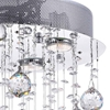 "Picture of 30"" Raindrops Modern Foyer Crystal Round Chandelier Mirror Stainless Steel Base 4 Lights"