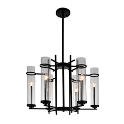 "30"" Sierra Modern Black Iron Large Round Chandelier 6 Lights"