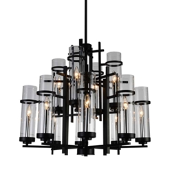 "30"" Sierra Modern Black Iron Two Tier Round Foyer Chandelier 12 Lights"