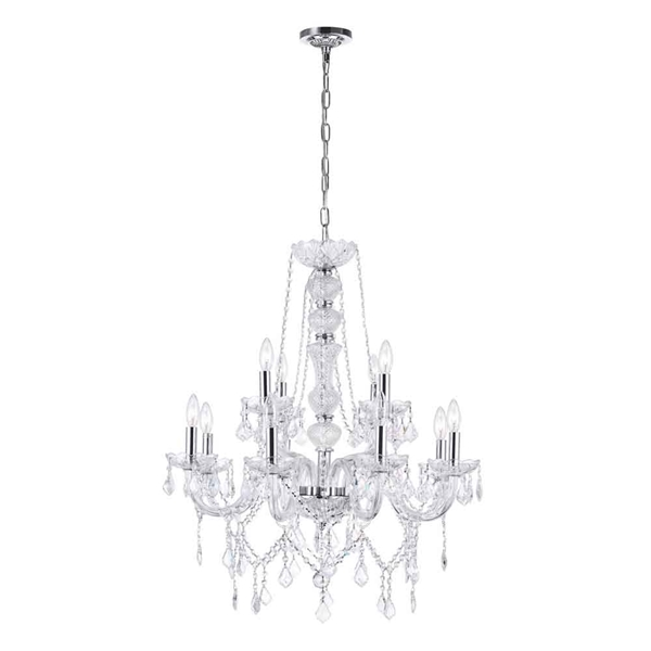 "Picture of 31"" 12 Light Down Chandelier with Chrome finish"