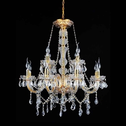 "31"" 12 Light Down Chandelier with Gold finish"