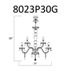 """Picture of 31"""" 12 Light Down Chandelier with Gold finish"""