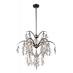 """31"""" 12 Light Down Chandelier with Silver Mist finish"""