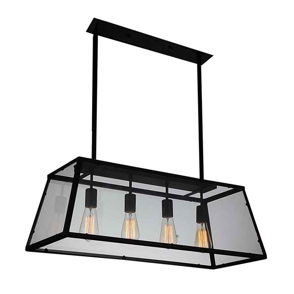 "Picture of 31"" 4 Light Down Chandelier with Black finish"