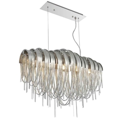"""31"""" 6 Light Down Chandelier with Chrome finish"""