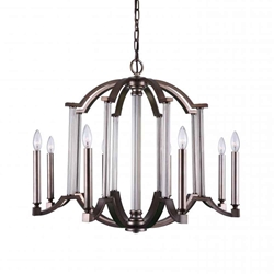 "31"" 8 Light Candle Chandelier with Brownish Silver finish"
