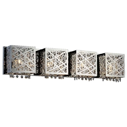 "31"" Web Modern Laser Cut Crystal Rectangular (S) Vanity Light Stainless Steel 4 Lights"