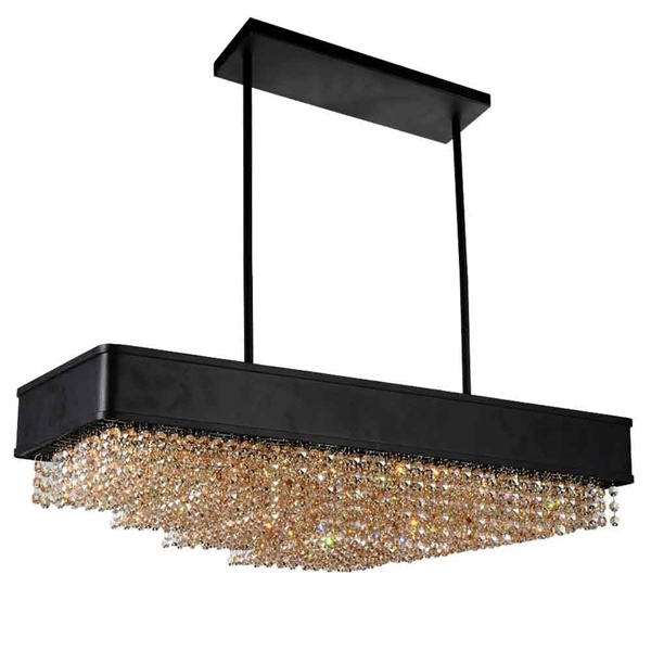 "Picture of 32"" 10 Light Drum Shade Chandelier with Black finish"