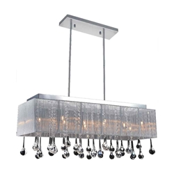 "32"" 10 Light Drum Shade Chandelier with Chrome finish"