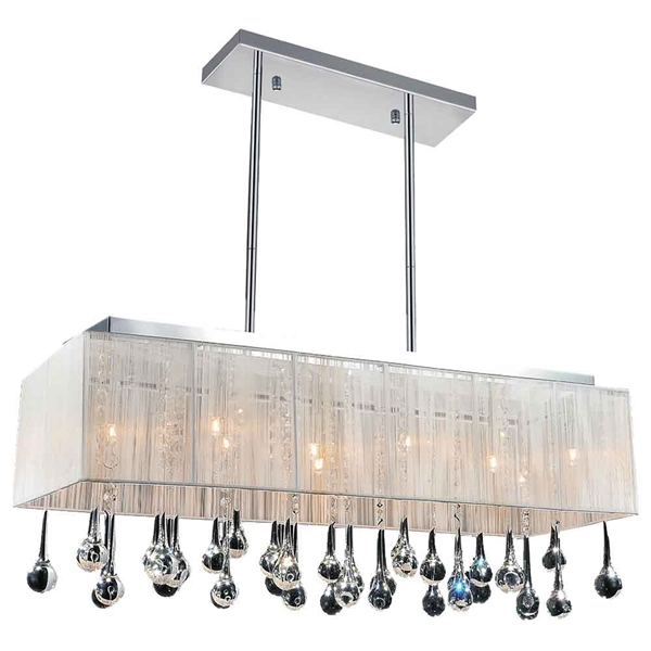 """Picture of 32"""" 10 Light Drum Shade Chandelier with Chrome finish"""