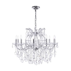 "32"" 10 Light Up Chandelier with Chrome finish"