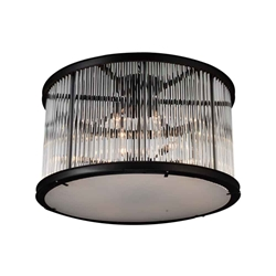 "32"" 12 Light Cage Flush Mount with Black finish"