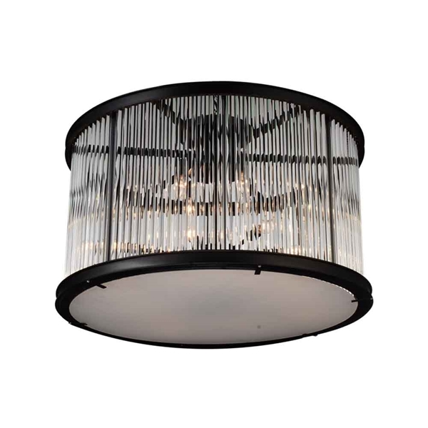 "Picture of 32"" 12 Light Cage Flush Mount with Black finish"