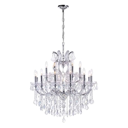 "32"" 19 Light Up Chandelier with Chrome finish"