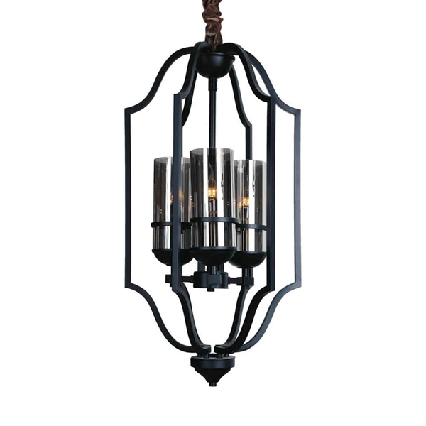 """Picture of 32"""" 3 Light Up Chandelier with Black finish"""