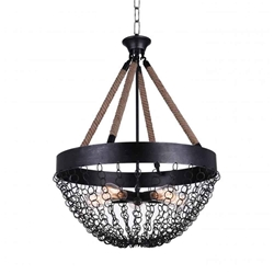 "32"" 5 Light Down Chandelier with Antique Black finish"