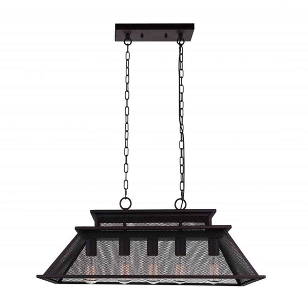"Picture of 32"" 5 Light Island Chandelier with Reddish Black finish"