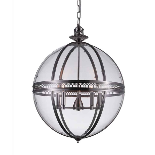 "Picture of 32"" 5 Light Up Chandelier with Satin Nickel finish"