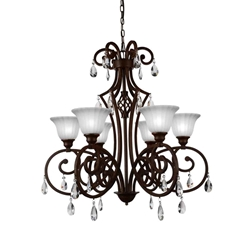 """32"""" 6 Light Candle Chandelier with Dark Bronze finish"""