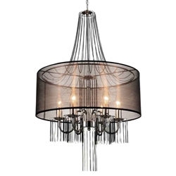 "32"" 6 Light Drum Shade Chandelier with Chrome finish"
