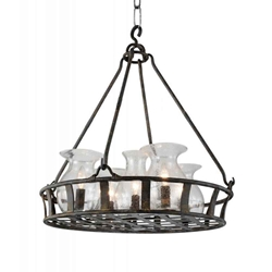 "32"" 6 Light Up Chandelier with Antique Black finish"