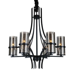 """32"""" 6 Light Up Chandelier with Black finish"""