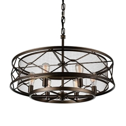 """32"""" 6 Light Up Chandelier with Light Brown finish"""