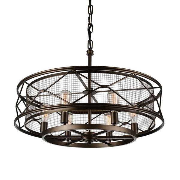 """Picture of 32"""" 6 Light Up Chandelier with Light Brown finish"""
