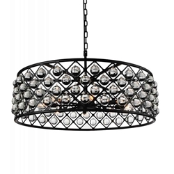 "32"" 8 Light  Chandelier with Black finish"