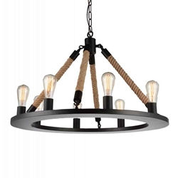 """32"""" 8 Light Up Chandelier with Black finish"""