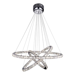 "32"" Anelli Modern Crystal Round Triple Ring Chandelier Polished Chrome 74 LED Lights"