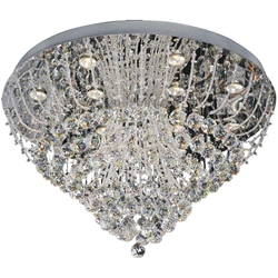 "32"" Chateaux Modern Round Crystal Flush Mount Ceiling Lamp Mirror Stainless Steel Base 12 Lights"