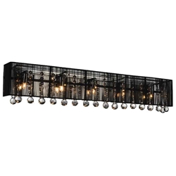 "32"" Gocce Modern Crystal String Shade Vanity Light Wall Sconce 5 Lights"