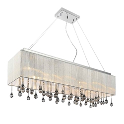 "32"" Gocce Modern String Shade Crystal Rectangular Chandelier Chrome with Black / White / Silver Shade 10 Lights"