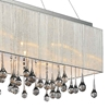 "Picture of 32"" Gocce Modern String Shade Crystal Rectangular Chandelier Chrome with Black / White / Silver Shade 10 Lights"