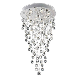 "32"" Raindrops Modern Foyer Crystal Round Chandelier Mirror Stainless Steel Base 6 Lights"