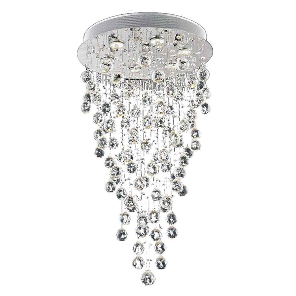 """Picture of 32"""" Raindrops Modern Foyer Crystal Round Chandelier Mirror Stainless Steel Base 6 Lights"""