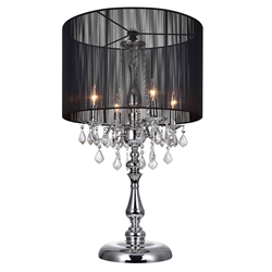 "32"" Verona Contemporary String Drum Shade Crystal Table Lamp Polished Chrome Black / White Shade 4 Lights"