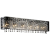 "Picture of 32"" Web Modern Laser Cut Crystal Rectangular Vanity Light Stainless Steel 6 Lights"