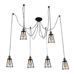 "33"" 6 Light Multi Light Pendant with Black finish"