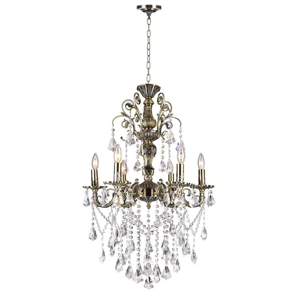 """Picture of 33"""" 6 Light Up Chandelier with Antique Brass finish"""
