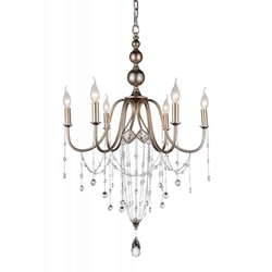 "33"" 6 Light Up Chandelier with Speckled Nickel finish"