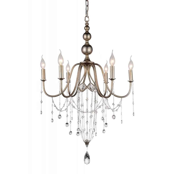 "Picture of 33"" 6 Light Up Chandelier with Speckled Nickel finish"