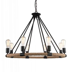 "33"" 8 Light Up Chandelier with Black finish"