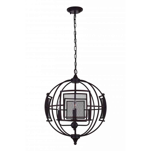 """Picture of 33"""" 9 Light  Chandelier with Reddish Black finish"""