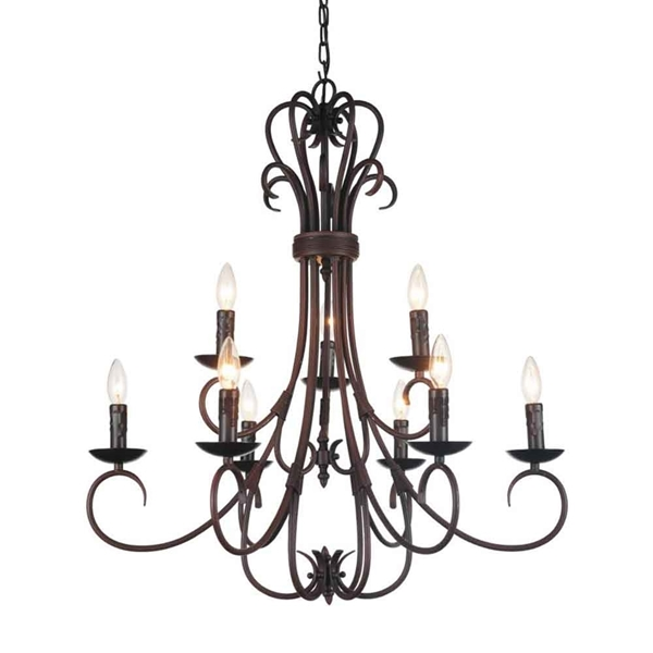"Picture of 33"" 9 Light Up Chandelier with Oil Rubbed Brown finish"