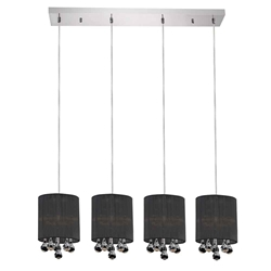 "33"" Gocce Modern String Shade Linear Round Mini Pendants Black White Silver 4 Lights"